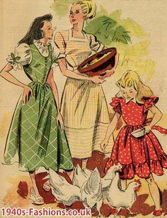 1940's farm dresses, I like the striped one