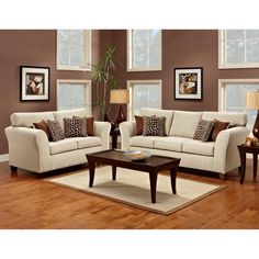Furniture of America Reese 2-piece Sofa and Loveseat Set