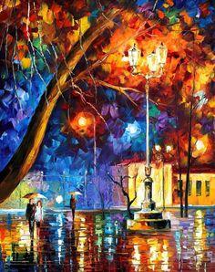 Noche de Lluvia a través de una vidriera