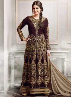 Maroon Cream Embroidery Work Georgette Chiffon Designer Wedding Anarkali Suit http://www.angelnx.com/Salwar-Kameez suit #designer #anarkali #maroon  #work #cream #georgette