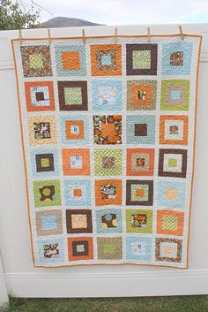 Blue, Orange, Green, and Brown. Diary of a Quilter - a quilt blog: Two new loves: a quilt and a boy
