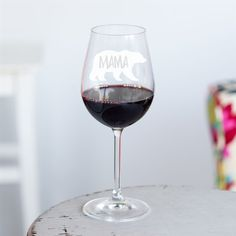 Mama Bear Wine Glass by Oh So Cherished, the perfect gift for Explore more unique gifts in our curated marketplace. Wine Glass Sizes, Use Of Capital Letters, Just Giving, Just For You, Wine Art, Ribbon Colors, Little Gifts, Special Gifts, Mother Day Gifts