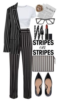 """Stripes On Stripes"" by mihai-theodora ❤ liked on Polyvore featuring Henri Bendel, Haider Ackermann, AQ/AQ, Chanel, Cazal, Mr. Coffee, stripesonstripes and PatternChallenge"