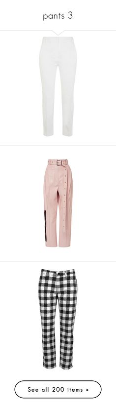 """""""pants 3"""" by gigiglow ❤ liked on Polyvore featuring pants, capris, white cropped trousers, cotton stretch pants, cropped trousers, crop length pants, maxmara, trousers, bottoms and pink"""