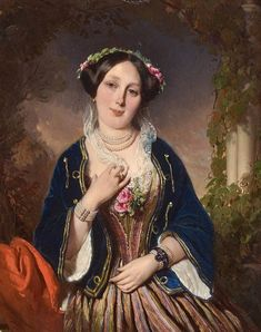 Heinrich Wilhelm Schlesinger (1814-1893 Германия-Франц). 1849_Портрет женщины, вероятно, мадам Елены Мар (Portrait de femme, Madame Helene Mar)