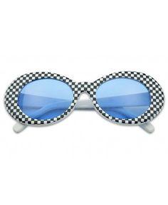 0115bac175 Iambcoolin.com  Classic Retro Vintage Checkered Oval Round Cobain Sunglasses  W  Color Pantone Lens (Blue