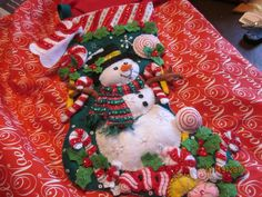 "Bucilla completed 18"" felt stocking ""Candy Snowman"" by HandmadebySrc on Etsy https://www.etsy.com/listing/219116485/bucilla-completed-18-felt-stocking-candy"