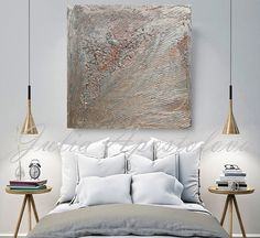 45 inch Silver Abstract Painting Gray Minimalist Art