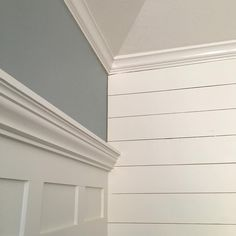 white is dove white by Benjamin moore but color matched at Sherwin Williams. The blue is called Silvermist by Sherwin Williams. planks are 1/4 inch plywood cut into 6 inch strips