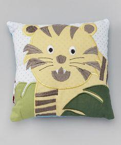 Yellow Jungle Tiger Throw Pillow #zulily #zulilyfinds