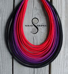 Dark Ombre  yarn-wrapped necklace / tribal / hippie / bohemian / red / violet / dark