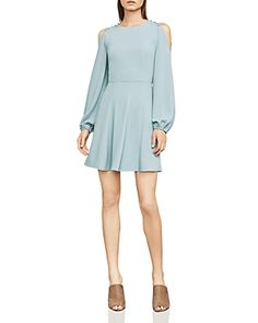 BCBGMAXAZRIA BAILEY BUTTON COLD-SHOULDER DRESS. #bcbgmaxazria #cloth #