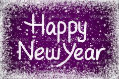 purple happy new year | Happy New Year Message on Purple Snow Background —Photo by scheriton