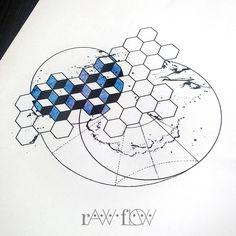 Astronomy tattoo space hexagon geometric
