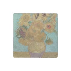 #Vase with 12 #Sunflowers by Vincent Van Gogh #VanGogh #Stone #Magnet
