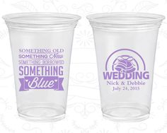 Something Old, Something New, Something Borrowed, Something Blue, Printed Disposable Cups, Wedding Bells, Soft Sided Cups (466)