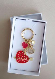 New Michael Kors Mom Heart Key Chain Bright Red  in Gift Box #MichaelKors