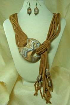 TShirt Necklace  with Polymer Clay Clasp and Matching by ljeans, $30.00