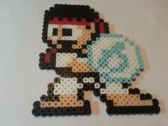 Ryu  Hadouken Street Fighter perler beads by DCBPerlerSprites