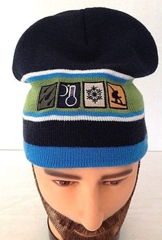 Winter patch sybols Men's Beanie Stocking Cap BlackGreen Blue White Hat Winter #Aeropostale #Beanie