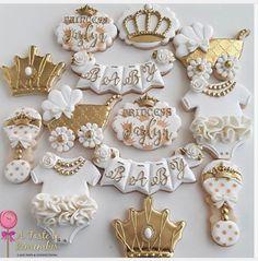 "Cake Pops & Confections on Instagram: ""Royal princess baby shower sugar cookies #royalprincess #princessparty #princessbabyshower #royalbabyshower #babyshowercookies…"""