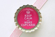 Pink Keep Calm and Make Cupcakes Bottle Cap Magnet - cupcake decoration, cupcake magnet, cupcake kitchen, cupcake party favor, cupcake gifts...