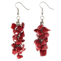 """Beautifully Hand Set Earrings Made With Real Semi-Precious Dyed Red Coral Chips Silver Tone - Approx. 2"""" Long WickedBodyJewelz - Earrings. $4.99"""