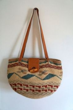 Woven Jute/Sisal Market or Tote Basket Bag with by quepadrevintage
