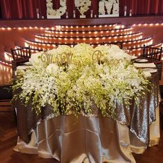 Decorit Events bridal sweetheart table with hydrangea and orchids and latte shantung linen table table rental Bridal Table, Sweetheart Table, Floral Wall, Hedges, Hydrangea, Orchids, Latte, Events, Candles