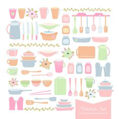 Kitchen, Cooking Utensils, and Baking themed Digital Clipart for Recipe Book, Party, Scrapbook, Card, Invites, etc Clip art: pan, kitchen