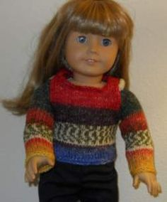 FREE Knitted Doll Clothes Pattern for an American Girl sweater from sock yarn.