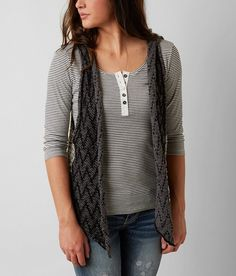 """BKE Open Weave Sweater Vest - Women's Vest"" Love the light weight delicate look about it; very simple. However I personally wish it didn't have the hood. I'd probably cut it off and sew the edge back together nicely to be a regular lil' vest/cardigan lol"