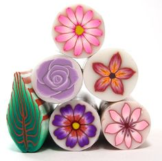 Sale !! set of 6 Polymer Clay Millefiori Flower canes by sigalsart, $36.00
