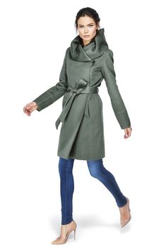 Mid Length Hooded Wrap Coat, Sage Green