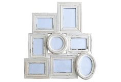Another collage of old frames, these in white.  Would be good for the bathroom with beachy prints