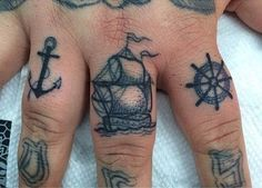 Little Linda inked these wee lil' nautical knuckle tattoos. #inked #Inkedmag #ink #tattoo #knuckles #fingers #anchor #nautical #ship #sea #ocean