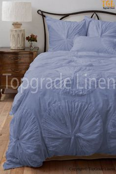 Beautiful A -1 Egyption Cotton 1000TC Flower Ruffle Duvet Set - Queen Size EG Blue Solid
