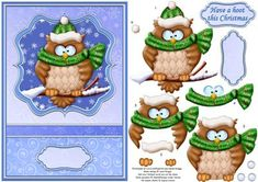 - Christmas card topper for card with additional step by step decoupage. Features cute little owl, in his winter hat and. Christmas Decoupage, Christmas Paper Crafts, 3d Paper Crafts, Christmas Animals, Christmas Art, Image 3d, Paper Owls, Xmas Cards, 3d Cards