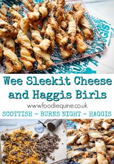 www.foodiequine.co.uk Only three ingredients in this tasty treat which is perfect for Burns Night, St Andrew's Day or Hogmanay. Haggis (traditional or vegetarian) and Cheese go burlin in Puff Pastry for an oh so moreish savoury Scottish snack.