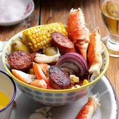 Carolina Crab Boil With sausage crab legs corn and potatoes this pot can feed a crowd for a picnic tailgate or other outdoor celebration Melissa Hass Gilbert South Caro. Crab Boil, Seafood Boil, Seafood Dishes, Seafood Recipes, Cooking Recipes, Restaurant Recipes, Fish Recipes, Recipies, Paella