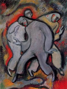 The Three Pierrots No. 2 - Albert Bloch - Expressionism, 1911