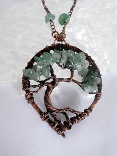 SOLD! Wire Wrapped Tree of Life Pendant Necklace, Aventurine Bonsai by PerfectlyTwisted,