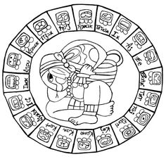 calendario maya - Cerca amb Google Maya Civilization, Mayan Symbols, Aztec Art, Moon Goddess, Mexican Art, Art Reference, Tatoos, Machine Embroidery, Coloring Pages
