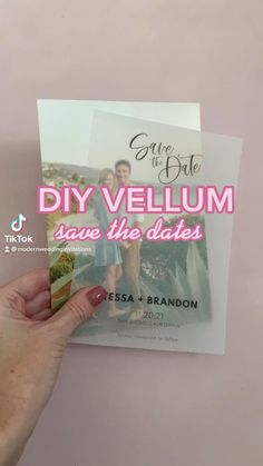 Modern save the date template with a vellum overlay. Includes instructions on where to order vellum cards and how to print vellum at home!