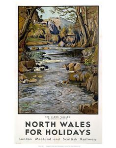 north wales size: Giclee Print: North Wales : Entertainment The Giclee printing process delivers a fine stream of ink resulting in vivid, pure color and exceptional detail that is Vintage Maps, Vintage Travel Posters, British Travel, Jamaica Travel, Railway Posters, Poster Prints, Art Prints, North Wales, Beach Landscape