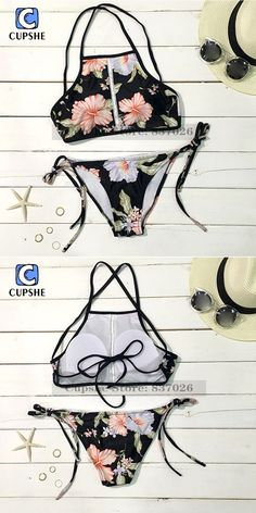 Cupshe 2016 New Arrival Hot Women Lost in Paradise Blooming Floral Printing Tank Bikini Set $13.68