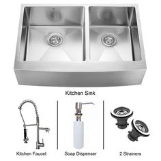 VIGO Farmhouse Stainless Steel Kitchen Sink, Faucet, Two Strainers and Dispenser