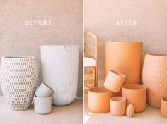 Upcycle Pots with DIY Terracotta Chalk Paint - Kate Nelle Diy Painted Vases, Painted Pots, Terracotta Paint, Terracotta Pots, Diy Upcycling, Upcycle, Furniture Makeover, Diy Furniture, Dresser Makeovers