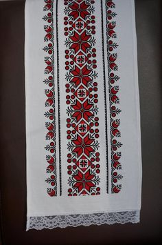 Your place to buy and sell all things handmade Cross Stitch Borders, Cross Stitch Designs, Cross Stitch Patterns, Cross Stitch Embroidery, Hand Embroidery, Red Tablecloth, Rustic Table Runners, Diy And Crafts, Romania