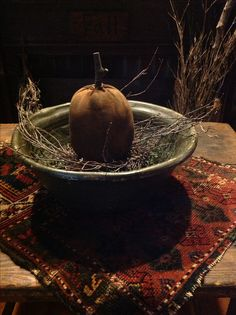Fall-change out wooden bowl dec in sun room.